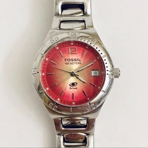 Fossil Pink & Yellow Sunburst Women's Watch